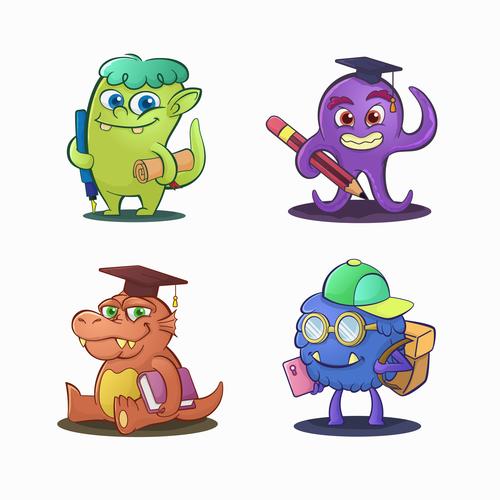 Monster drawn design illustrations vector