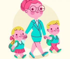 Mother sending children to school vector