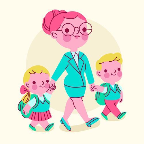Mother sending children to school vector