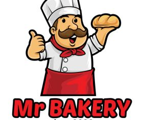 Mr bakery icon vector