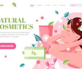 Natural cosmetics website login page vector