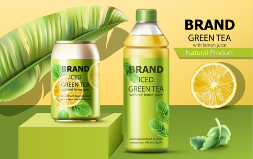 Natural product green tea drink vector