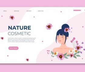 Nature cosmetics landing page vector
