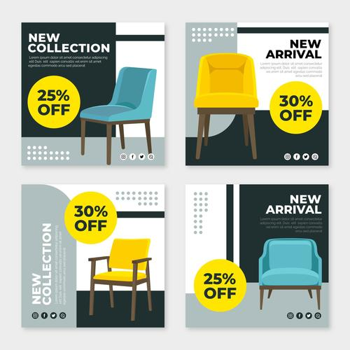 New collection furniture sales vector