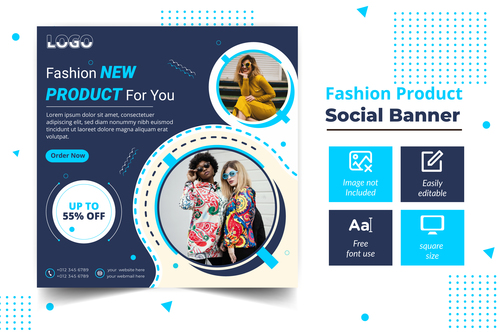 New fashion social banner vector