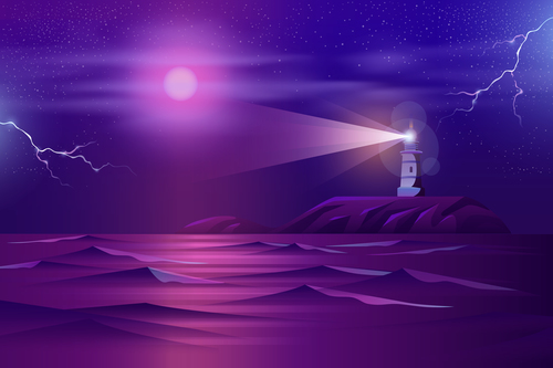 Night lighthouse background vector
