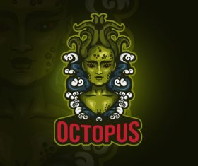Octopus emblem gaming vector