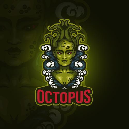 Octopus emblem gaming vector