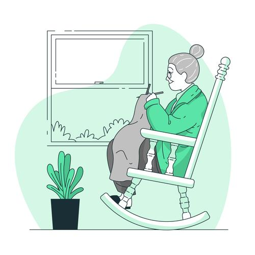 Old woman knitting sweater vector