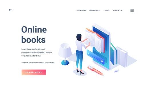 Online books illustration vector