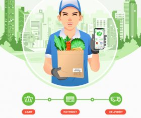 Online buying vegetables cartoon illustration vector