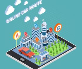 Online car route vector