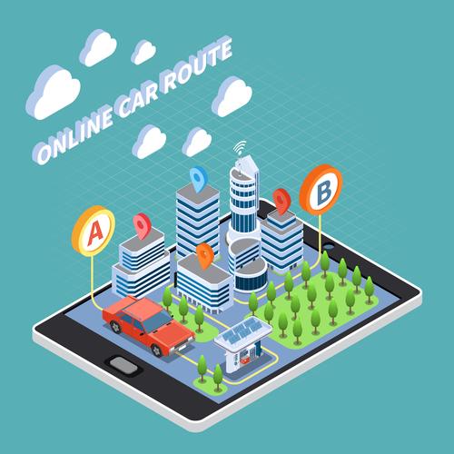 Online car route vector
