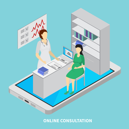 Online consultation isometric vector illustration
