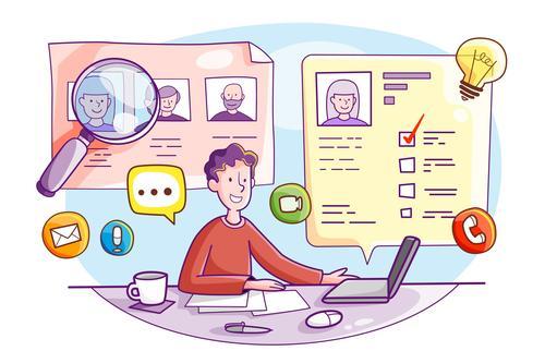 Online interview vector