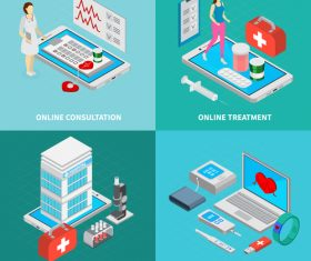 Online treatment isometric vector illustration