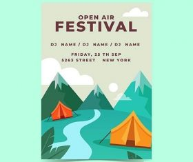 Open air music festival poster template with mountains vector
