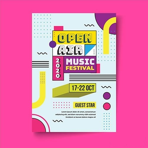 Open air music festival poster vector