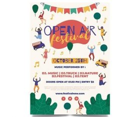 Open air music festival template flyer vector