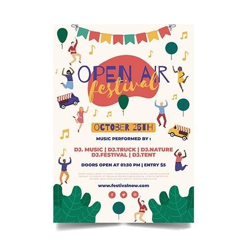 Open air music festival template flyer vector
