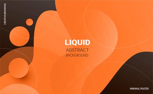 Orange liquid background abstract vector