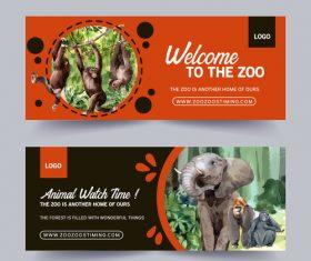 Orangutan elephant zoo poster banner vector