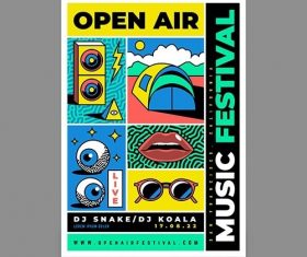 Outdoors music festival poster vector