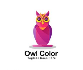 Owl color icon vector
