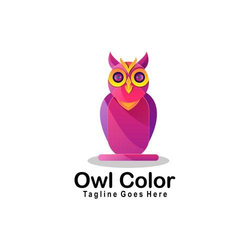 Owl color icon vector