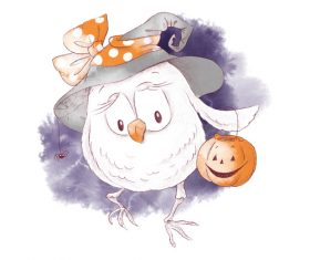 Owl halloween watercolor illustration vector