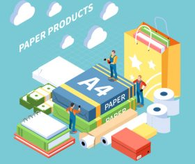 Paper Isometric Illustration Vector