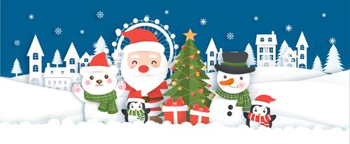 Paper cut illustration merry christmas vector