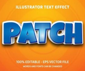 Patch editable font effect text vector