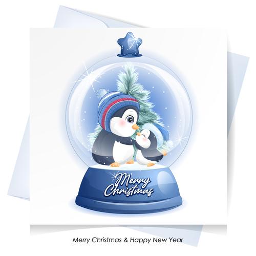 Penguin crystal ball vector