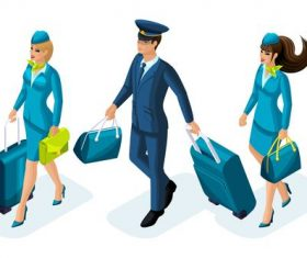 Pilot and stewardess cartoon vector