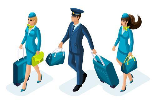 Pilot and stewardess cartoon vector