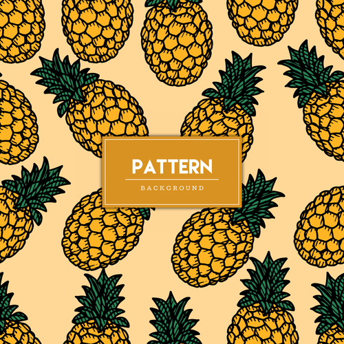 Pineapple decorative seamless pattern background vector