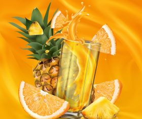 Pineapple fresh orange mixed juice realistic illustration vector