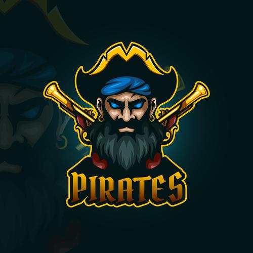 Pirates emblem gaming vector