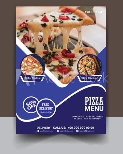 Pizza flyer template vector