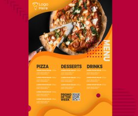 Pizza menu vector on orange background