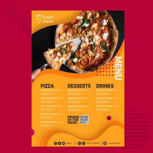 Pizza menu vector on orange background