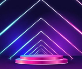 Podium neon light effect vector
