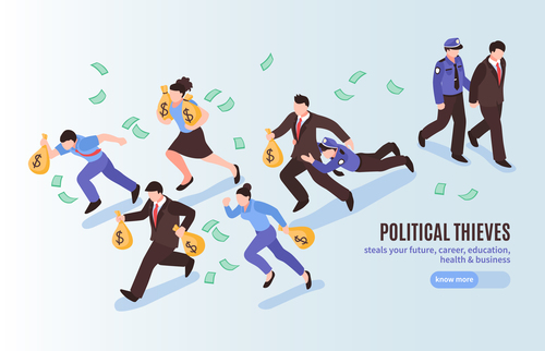 Political thieves abstract concept vector