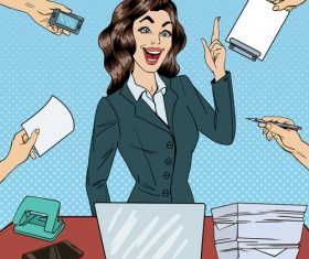Pop art business beautiful woman at work in office illustratio vector