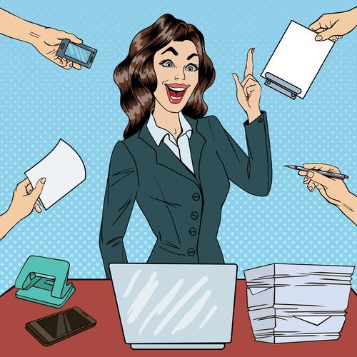 Pop art business beautiful woman at work in office illustratio vector