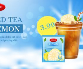 Premium summer iced tea advertising brand design vector