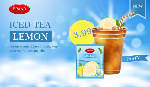 Premium summer iced tea advertising brand design vector