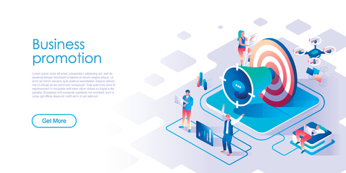 Promotion isometric template vector