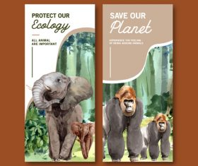Protect our wild animal flyer design vector